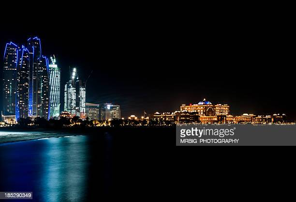 Bright building at night in the city of Abu Dhabi, Emirates