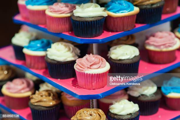 bright colored themed cupcakes - istock photo stock pictures, royalty-free photos & images