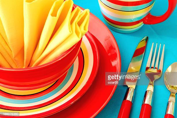 Bright Colorful Place Setting in red, yellow and turquoise