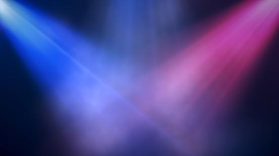 Bright colorful spotlights shine into the scene in smoke, concert background. 3d illustration 1089139862