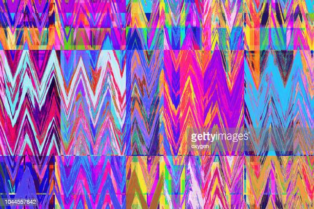 bright colorful zigzag abstract background - kunst kultur und unterhaltung fotos stock-fotos und bilder