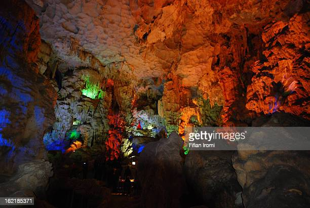 Bright colors on the wall of Thien Cung cave or the cave of Heavenly Palace in Halong Bay, Vietnam