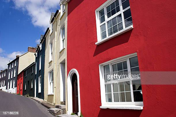 bright coloured houses in kinsale, county cork, republic of ireland - county cork stock pictures, royalty-free photos & images