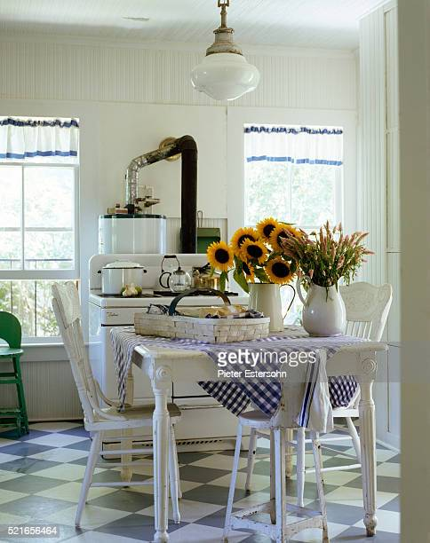Bright country kitchen with blue and white gingham