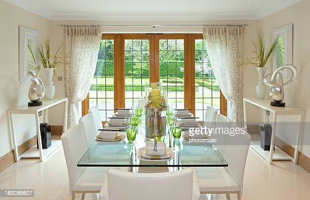 bright dining room with garden view