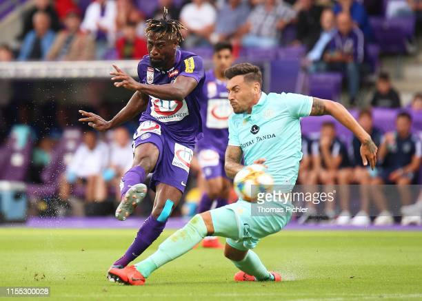 Bright Edomwonyi of Austria Wien and Grant Hall of Queens Park Rangers compete during the friendly match between Austria Wien and Queens Park Rangers...