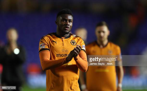 Bright Enobakhare of Wolverhampton Wanderers applauds the travelling fans during the Sky Bet Championship match between Birmingham City and...