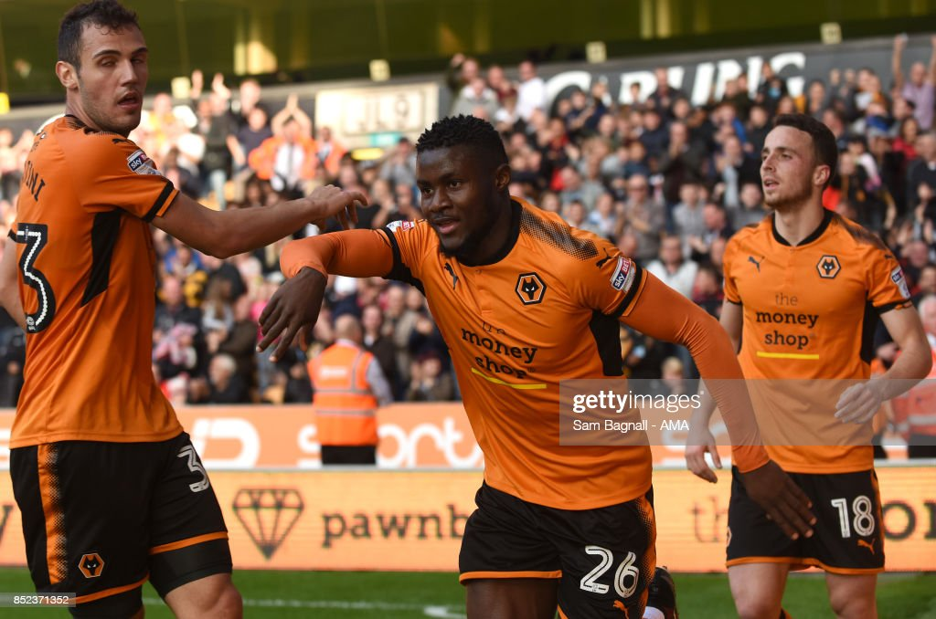 Bright Enobakhare of Wolverhampton Wanderers celebrates after scoring a goal to make it 1-0 during the Sky Bet Championship match between Wolverhampton and Barnsley at Molineux on September 23, 2017 in Wolverhampton, England.