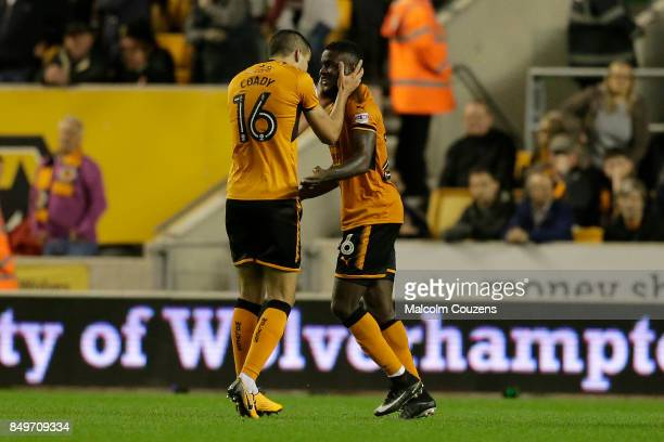 Bright Enobakhare of Wolverhampton Wanderers celebrates with Conor Coady following his goal during the Carabao Cup tie between Wolverhampton...