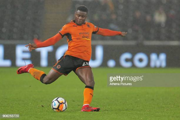 Bright Enobakhare of Wolverhampton Wanderers in action during the Emirates FA Cup match between Swansea and Wolverhampton Wanderers at the Liberty...
