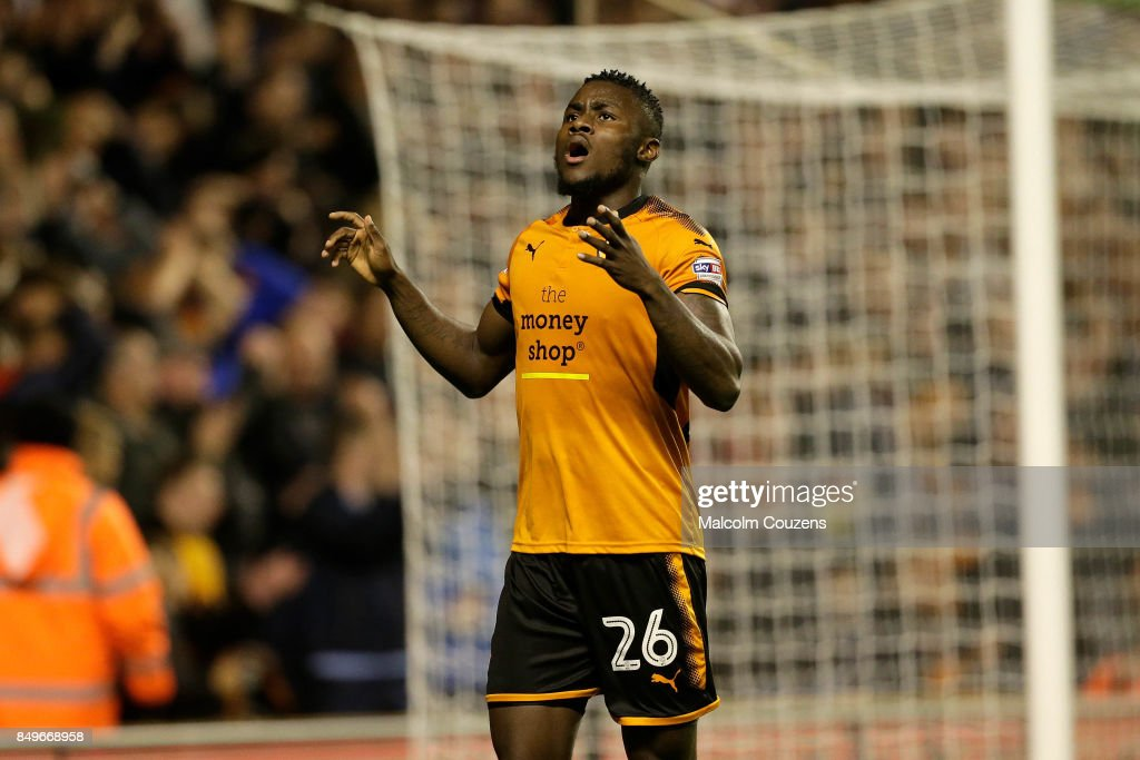 Bright Enobakhare of Wolverhampton Wanderers reacts after missing a shot at goal during the Carabao Cup tie between Wolverhampton Wanderers and Bristol Rovers at Molineux on September 19, 2017 in Wolverhampton, England.