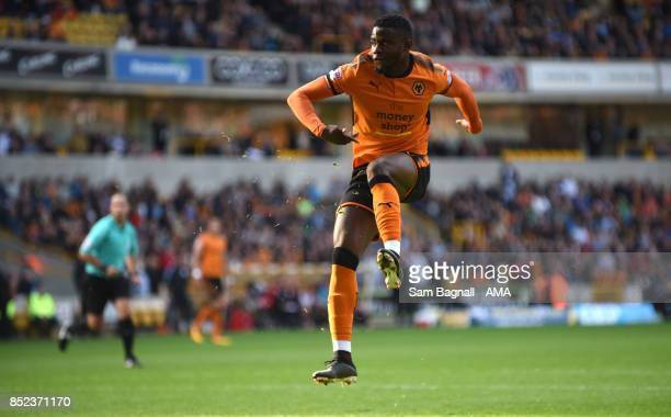 Bright Enobakhare of Wolverhampton Wanderers scores a goal to make it 10 during the Sky Bet Championship match between Wolverhampton and Barnsley at...