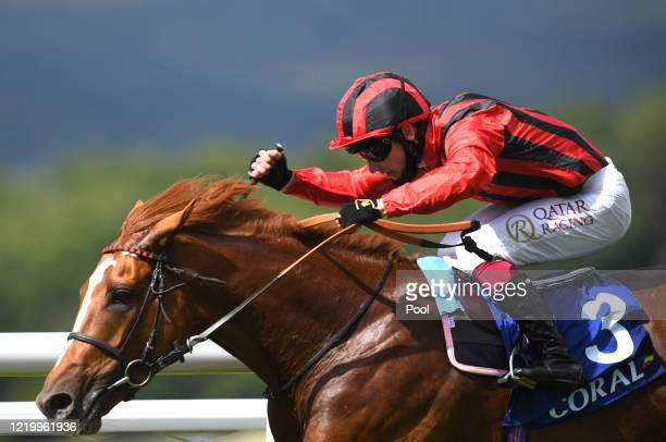 Bright Eyed Eagle ridden by Oisin Murphy winning the Coral Shops Reopen Tomorrow in England Handicap at Goodwood Racecourse on June 14, 2020 in...