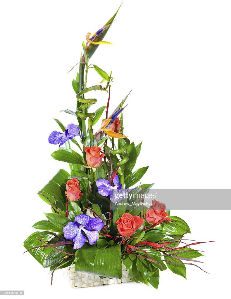 Bright flower bouquet in basket : Stock Photo