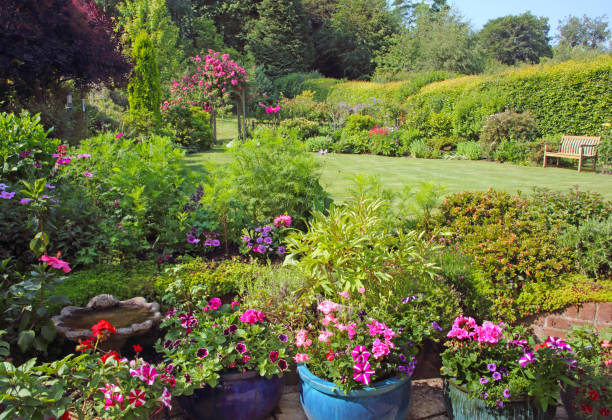 Bright flowers in large English country garden.