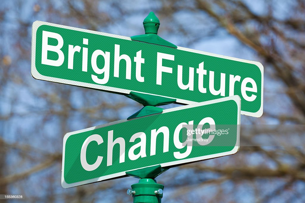 Bright Future Change Street Sign High-Res Stock Photo