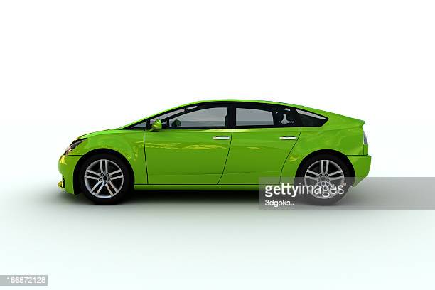 a bright green hatchback family car - hybrid car stock photos and pictures