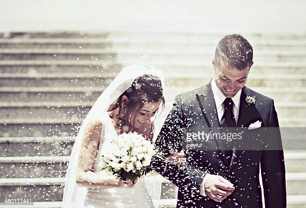 bright happiness - newlywed stock pictures, royalty-free photos & images