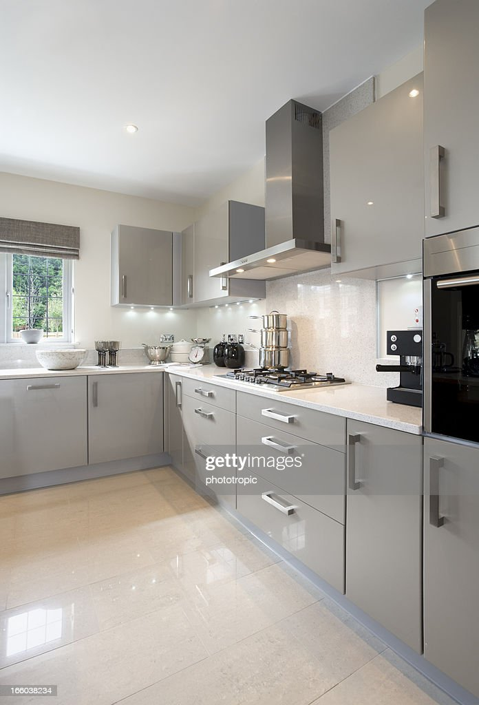 Bright Light Grey Kitchen Stock Photo Getty Images