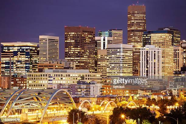 Bright lights in Denver's skyline at night