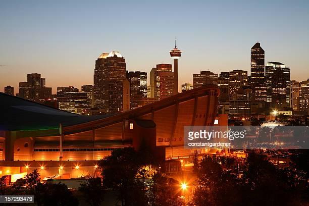 Bright Lights Of Calgary Alberta Skyline