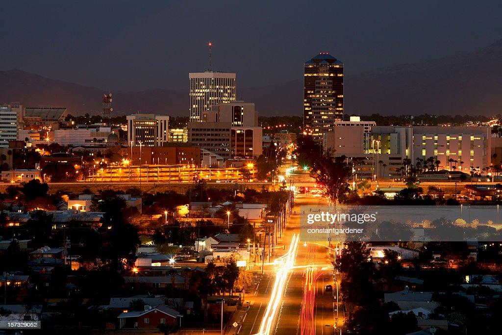 Bright Lights Of Tucson Arizona At Night : Stock Photo