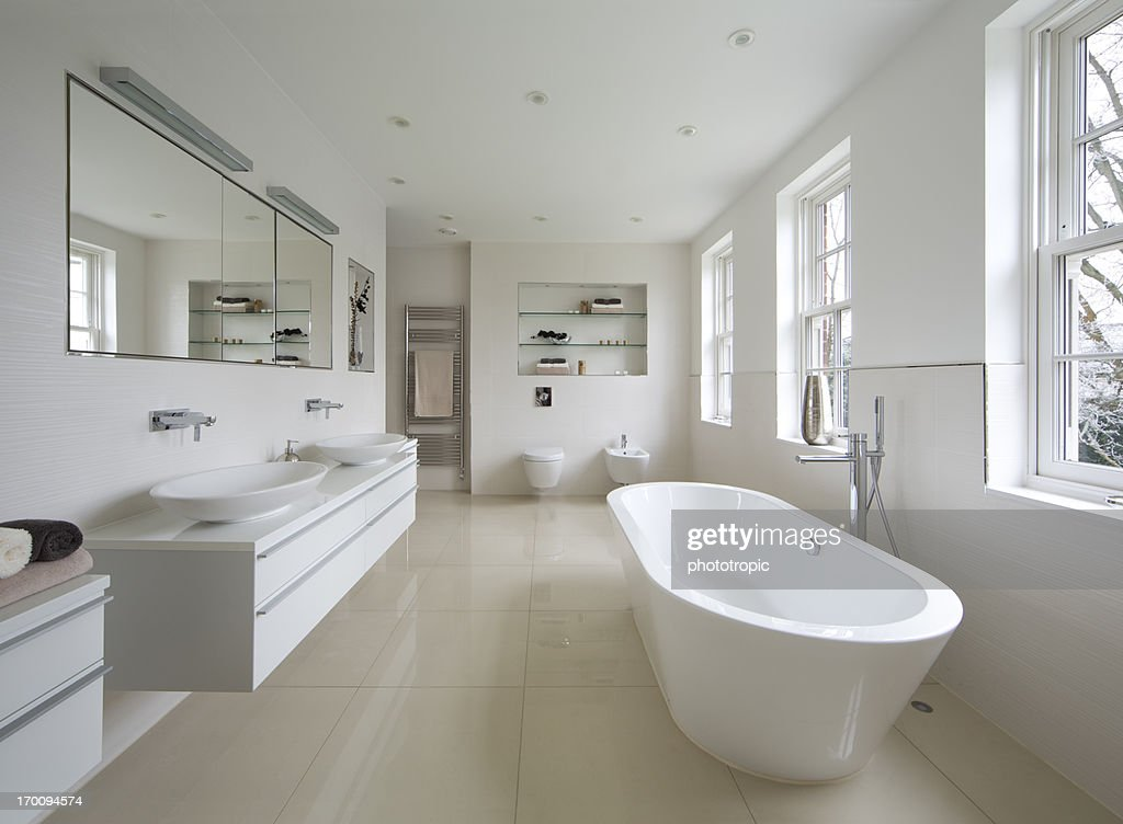 bright luxury bathroom : Stock Photo