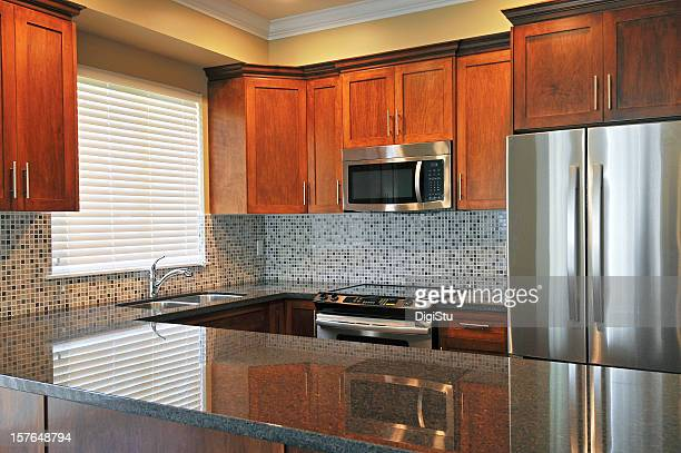 bright modern kitchen - new cherry stock pictures, royalty-free photos & images