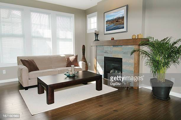 bright, modern living room - floorboard stock photos and pictures