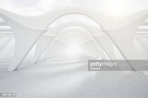 Bright, modern white tunnel
