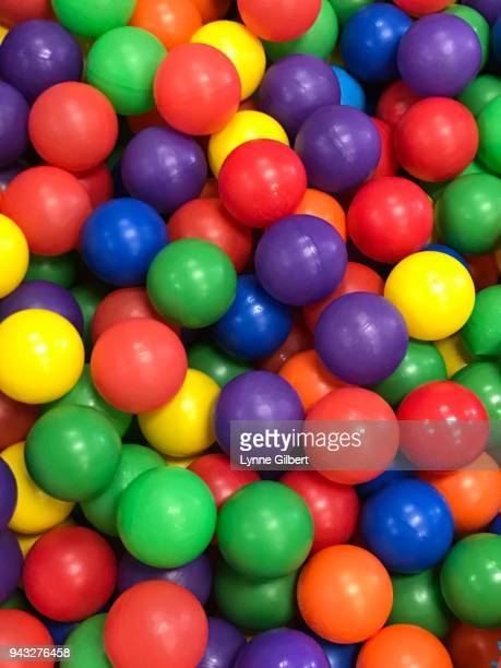 Bright multi colored plastic balls in a pit at play area