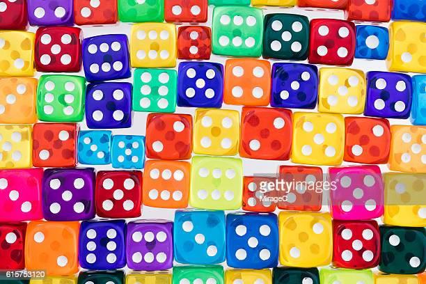 Bright Multi-colored Dices Pattern