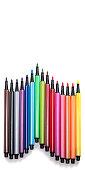 bright multicolored felttip pens white background
