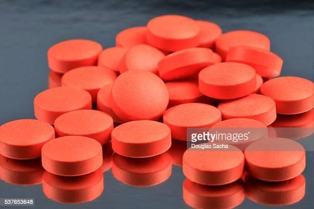 Bright orange medicine pills