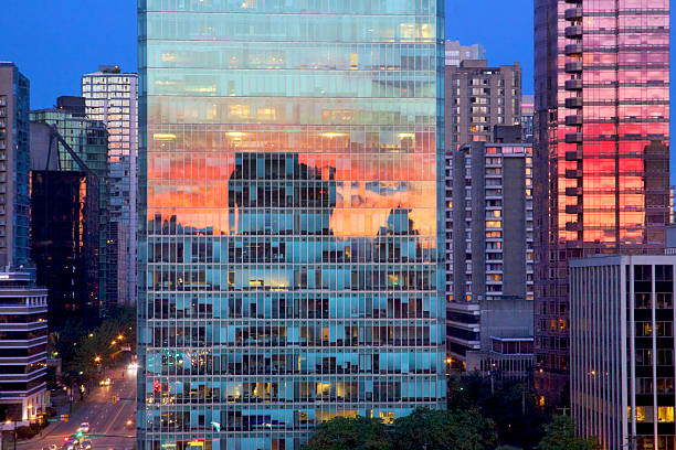 Bright Orange Sunset Reflected on Buildings