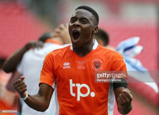 Bright OsayiSamuel of Blackpool celebrates victory and promotion after the Sky Bet League Two Playoff Final between Blackpool and Exeter City at...