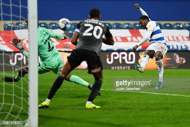 Bright Osayi-Samuel scores their sides second goal during the Sky Bet Championship match between Queens Park Rangers and Rotherham United at The...