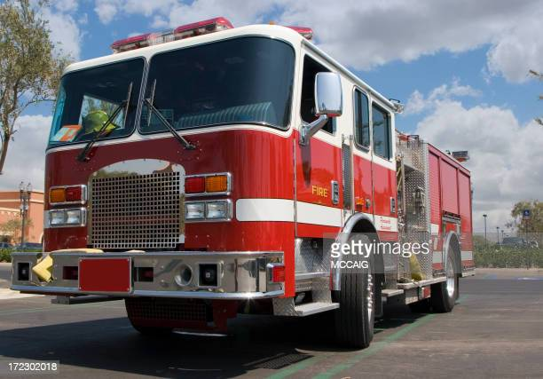 A bright red and yellow fire truck
