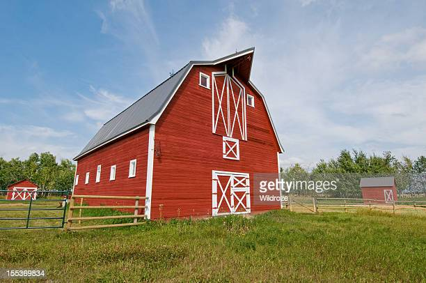 Bright red barn down on the farm