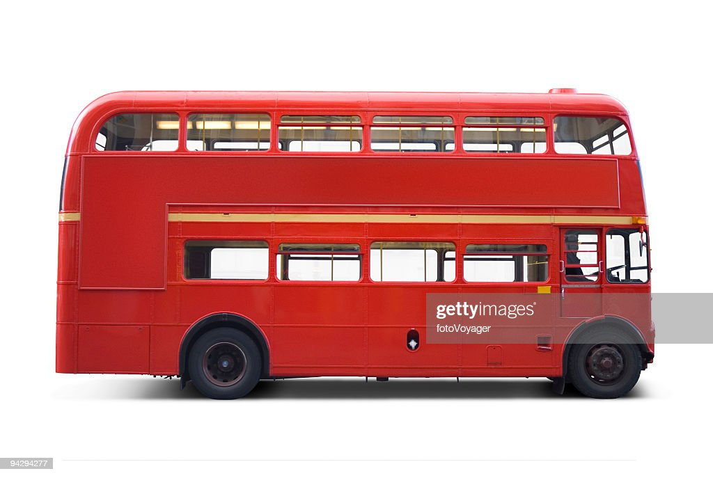 Bright red bus with clipping paths : Stock Photo