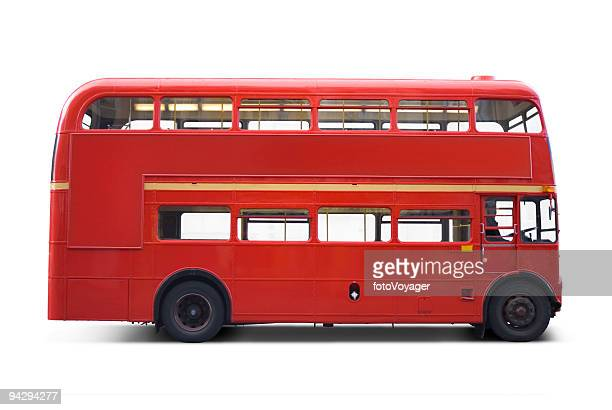 Bright red bus with clipping paths