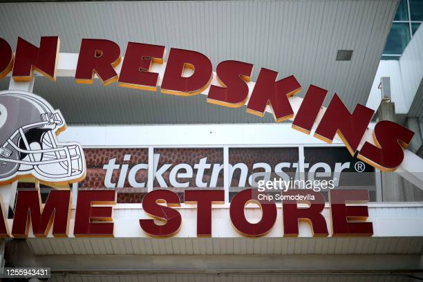 Bright red letters stand above the entrance to the NFL Washington Redskin's Hall of Fame Store at FedEx Field July 13 2020 in Landover Maryland The...