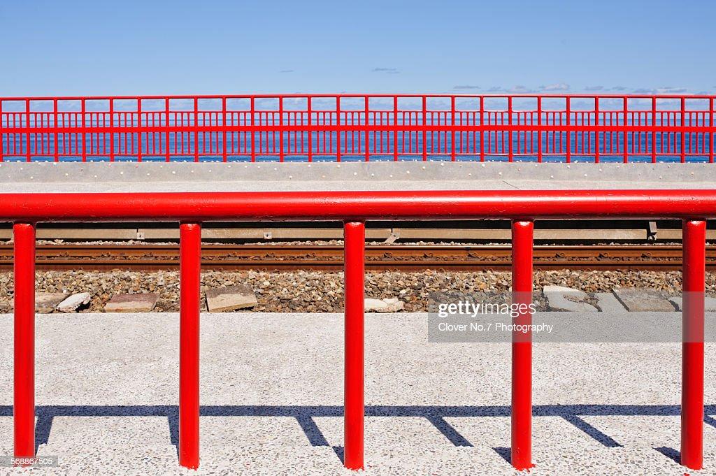 Bright red railings. : Stock Photo