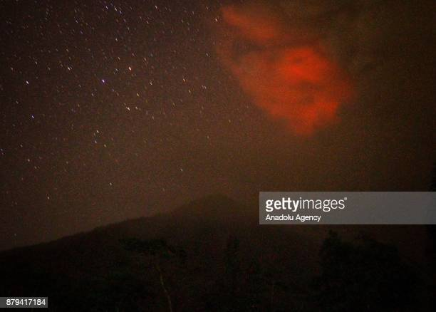 A bright red sky is seen from Besakih village of Karangasem regency 7 kilometers from the erupted Mount Agung in Bali Indonesia on November 26 2017...