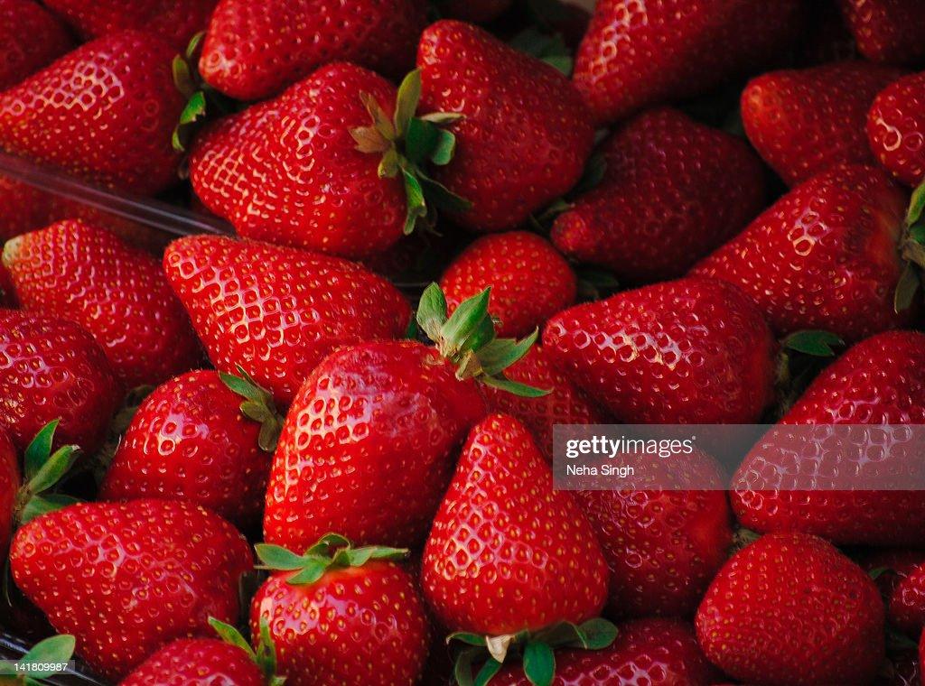 Bright red srawberries : Stock Photo