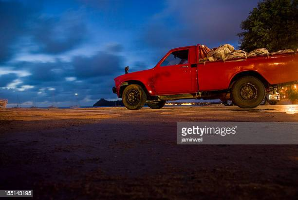 bright red van near beach at night