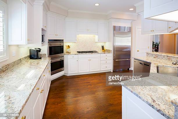 Bright Spacious Kitchen with Marble Counters, Hardwood Cabinetry