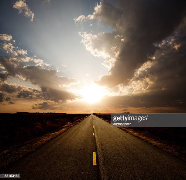 Bright Sun and Rural Road