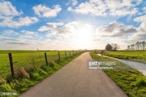 bright sun on a road in the countryside - tempo atmosferico foto e immagini stock