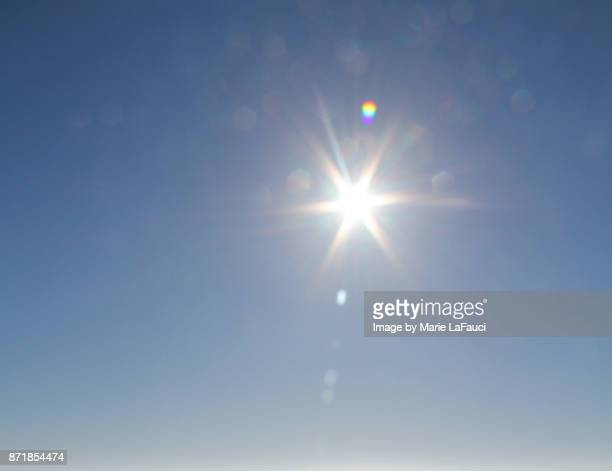 bright sunshine glare against blue sky - blendenfleck stock-fotos und bilder